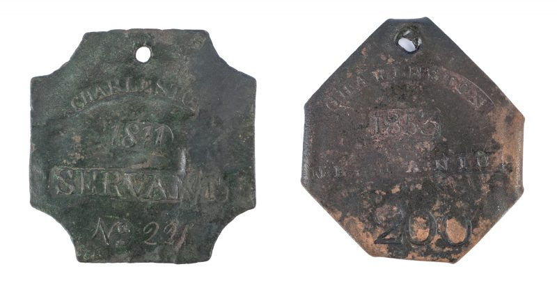 Lot 340: 2 Charleston Slave Hire Badges, incl. Lafar.
