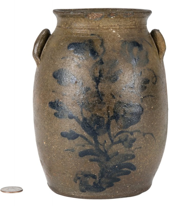 Lot 160: Small Southwest VA Stoneware Jar, Cobalt Decorated, Exhibited