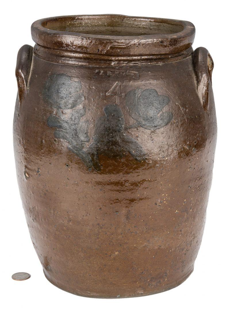 Lot 162: Southwest VA J. B. Magee Stoneware Jar w/ Cobalt, Exhibited