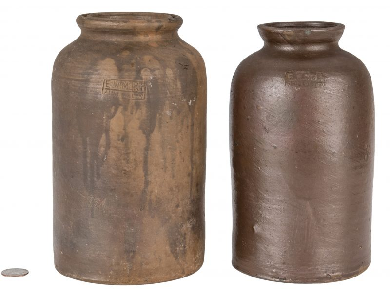 Lot 163: 2 Southwest VA Preserving Jars, E. W. Mort, Exhibited
