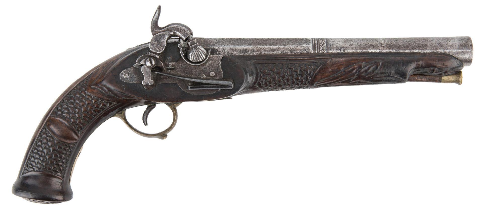 Lot 771: Portuguese Miquelet Lock Percussion pistol, .72 cal.