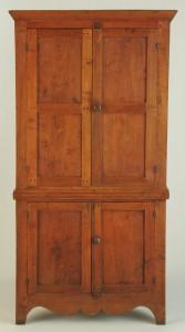 Lot 113: Small East Tennessee Walnut Corner Cupboard
