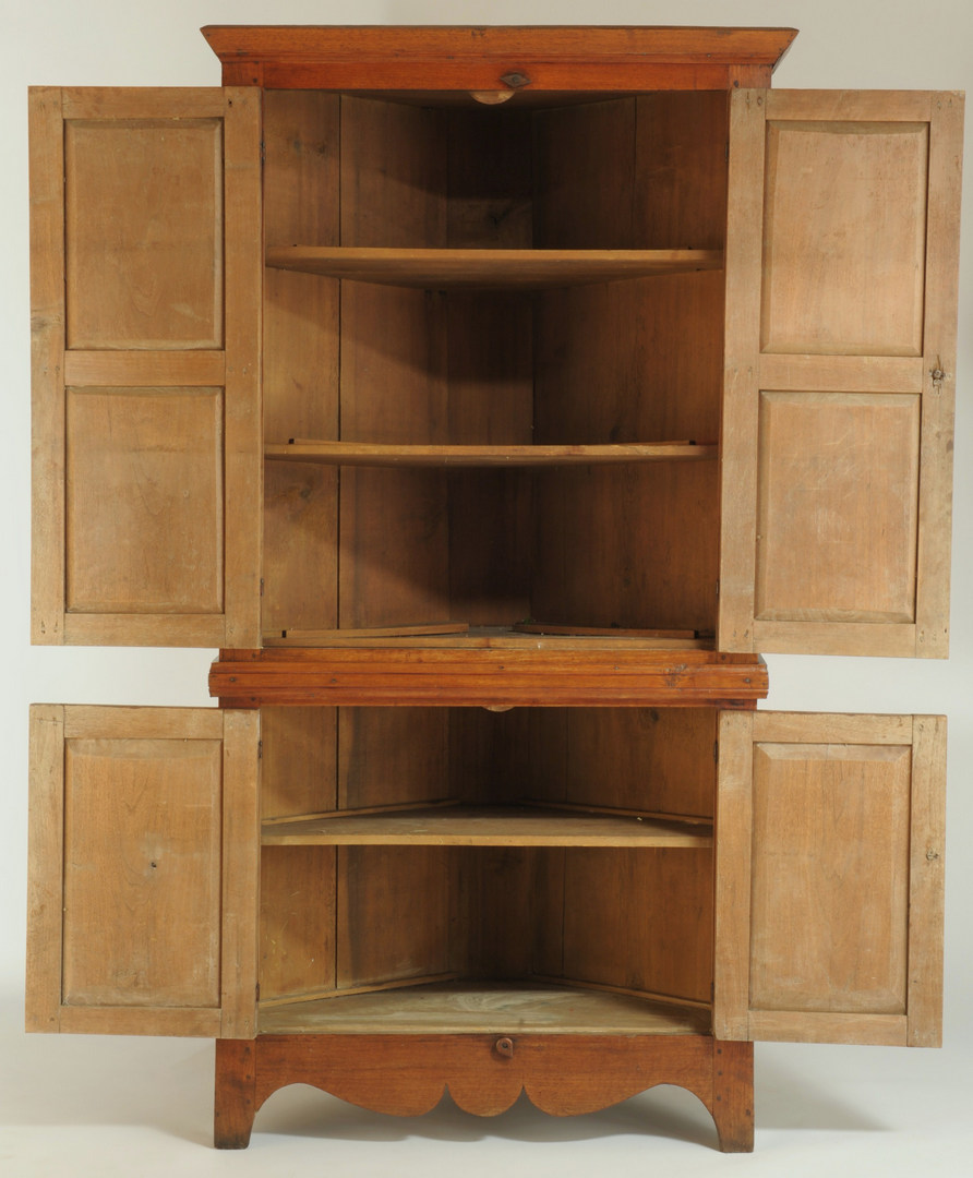 Lot 113: Small East Tennessee Walnut Corner Cupboard