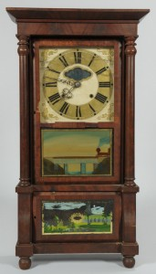 Lot 115: Classical Shelf Clock, Augusta, Georgia label