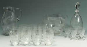 Lot 120: Rowland Ward Safari Etched Glassware, 23 pieces