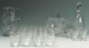 Lot 120: Rowland Ward Safari Etched Glassware, 23 pieces