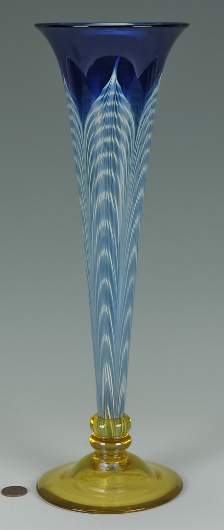 Lot 121: Peacock feather art glass vase, attr. Durand