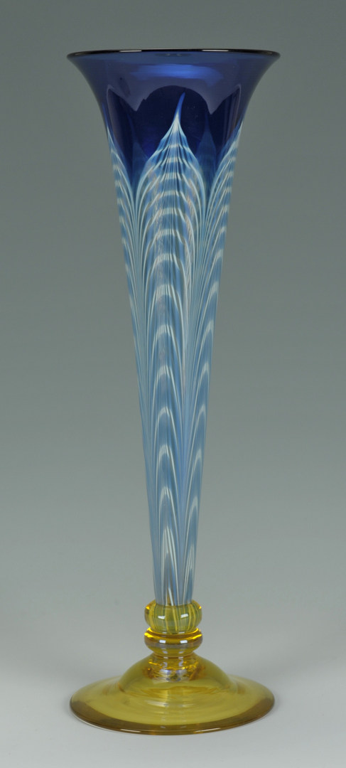 Lot 121 Peacock Feather Art Glass Vase Attr Durand
