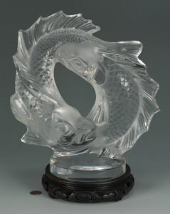 """Lot 122: Lalique Fish sculpture, """"Deux Poissons"""""""