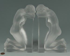 "Lot 123: Lalique ""Reverie"" Nude Bookends"