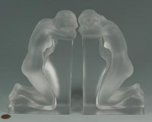 "Lot 123: Lalique ""Reverie"" Nude Bookends"