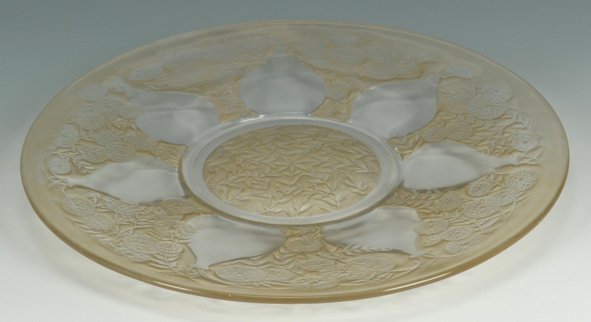 Lot 124: Lalique sepia patina platter, Vases pattern