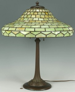 Lot 126: Duffner & Kimberly Art Glass Lamp w/ Green Glass S