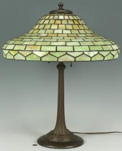 Lot 126: Duffner & Kimberly Art Glass Lamp w/ Green Glass S