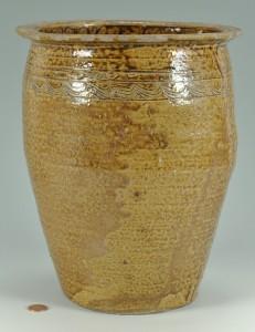 Lot 135: Southern Alkaline Glaze Jar, Wave Design, poss. AL