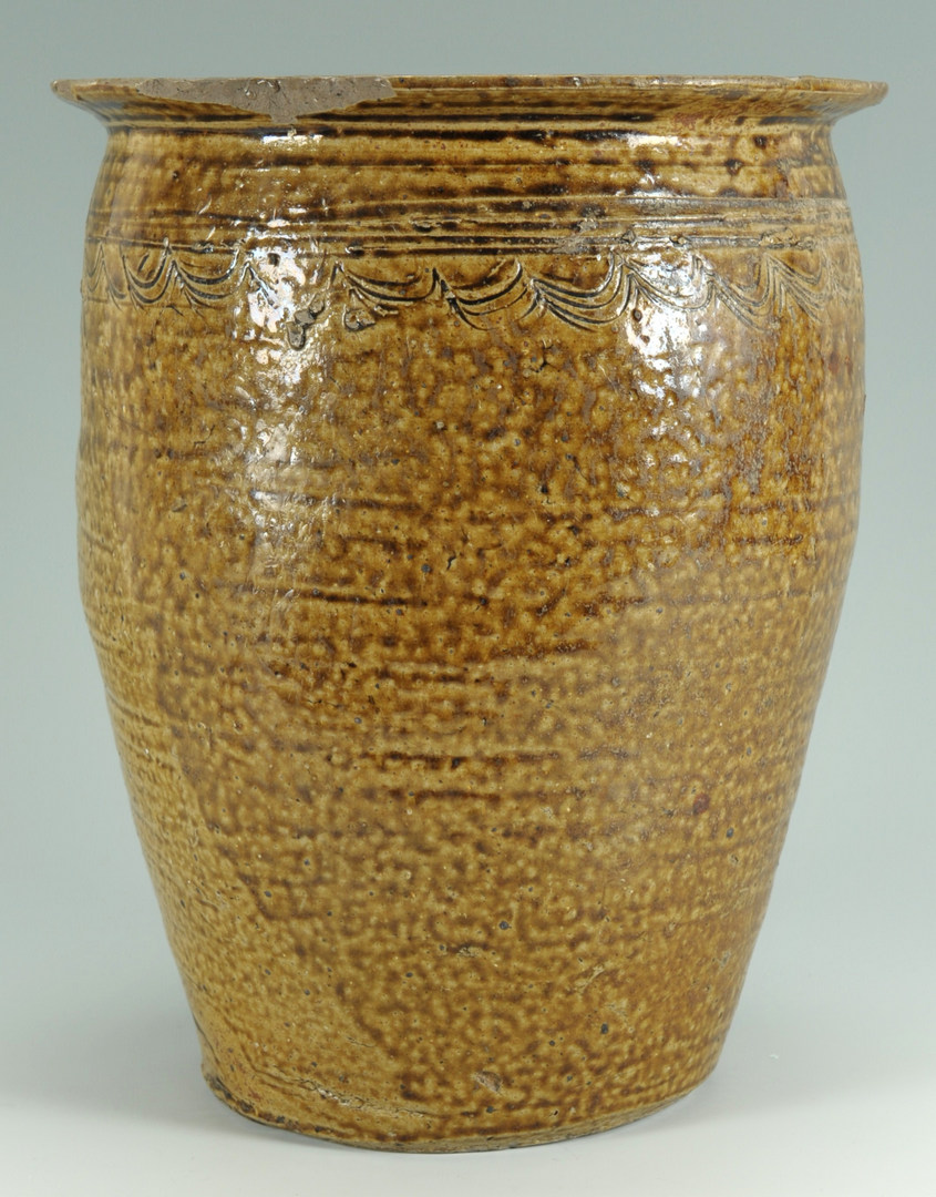 Lot 135: Southern Alkaline Glaze Jar, Wave Design, poss. AL