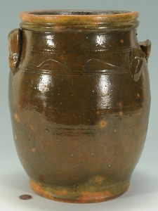 Lot 137: East TN Redware Pottery Jar, attrib. Cain