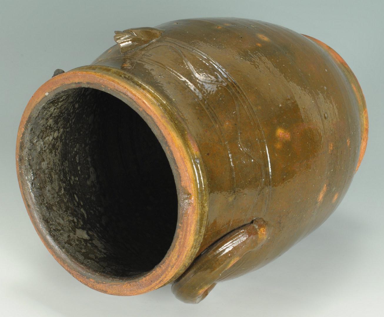 Lot 137: East TN Redware Pottery Jar, attrib. Cain