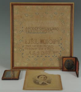 Lot 142: Sarah Brevard Donoho needlework sampler and photos
