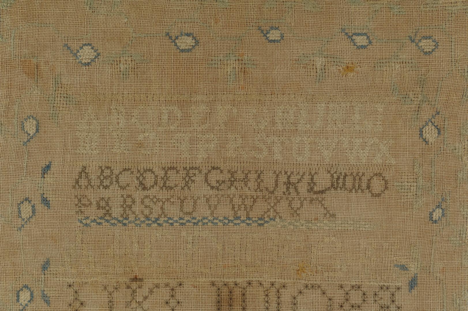 Lot 142: Sarah Brevard Donoho needlework sampler and photos