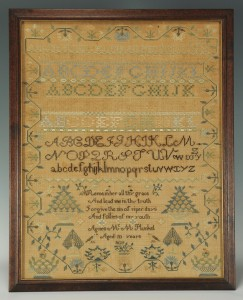 Lot 143: School Girl Sampler with verse, possibly Irish