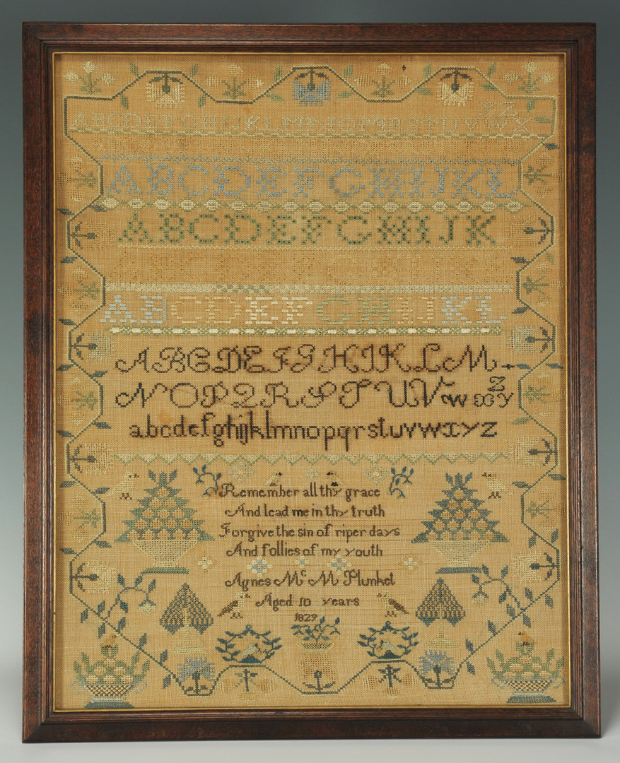 Lot 143: School Girl Sampler with verse, possibly Irish