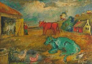 Lot 155: David Burliuk painting of farm with cows