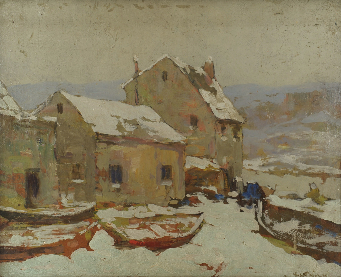 Lot 159: Hobart Nichols oil on board, Winter Wharf Scene