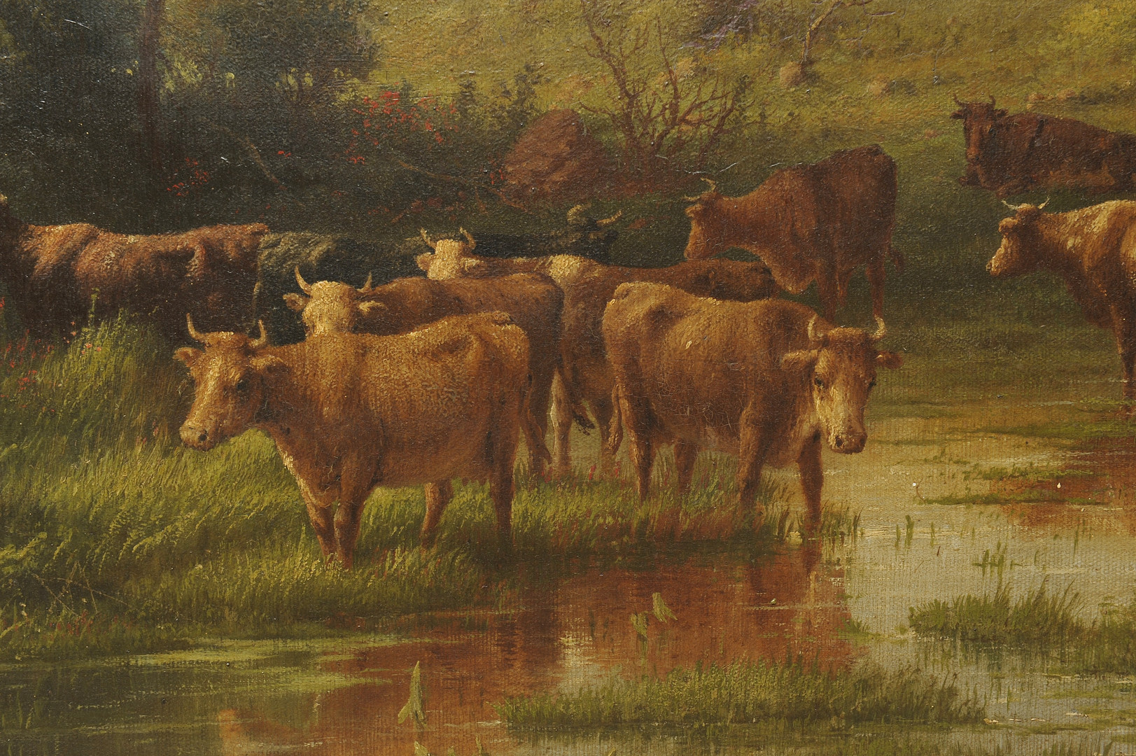 Lot 164: George Riecke oil on canvas, landscape with cows