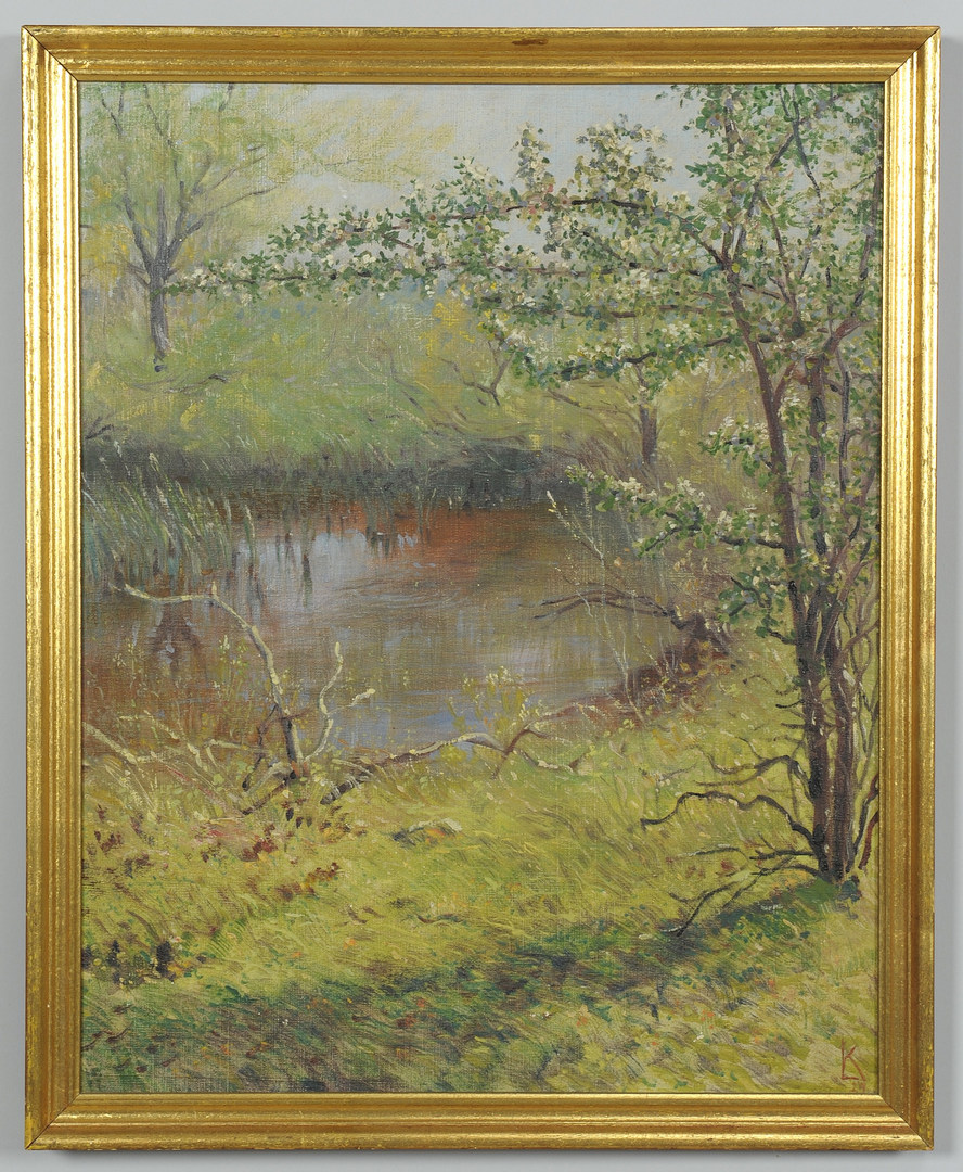 Lot 166: Lorentz Kleiser oil on board, Spring Landscape