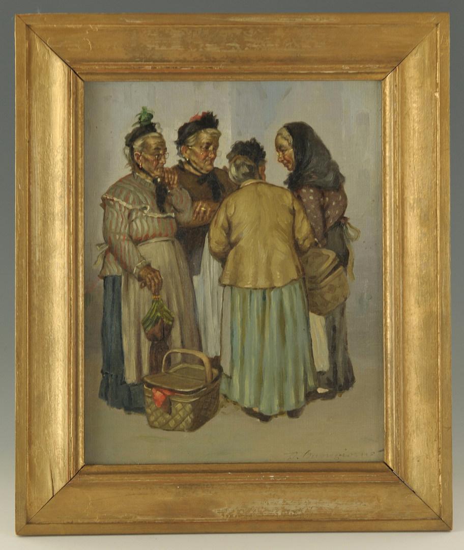 Lot 167: D. Buongiorno oil on canvas genre scene, 4 women