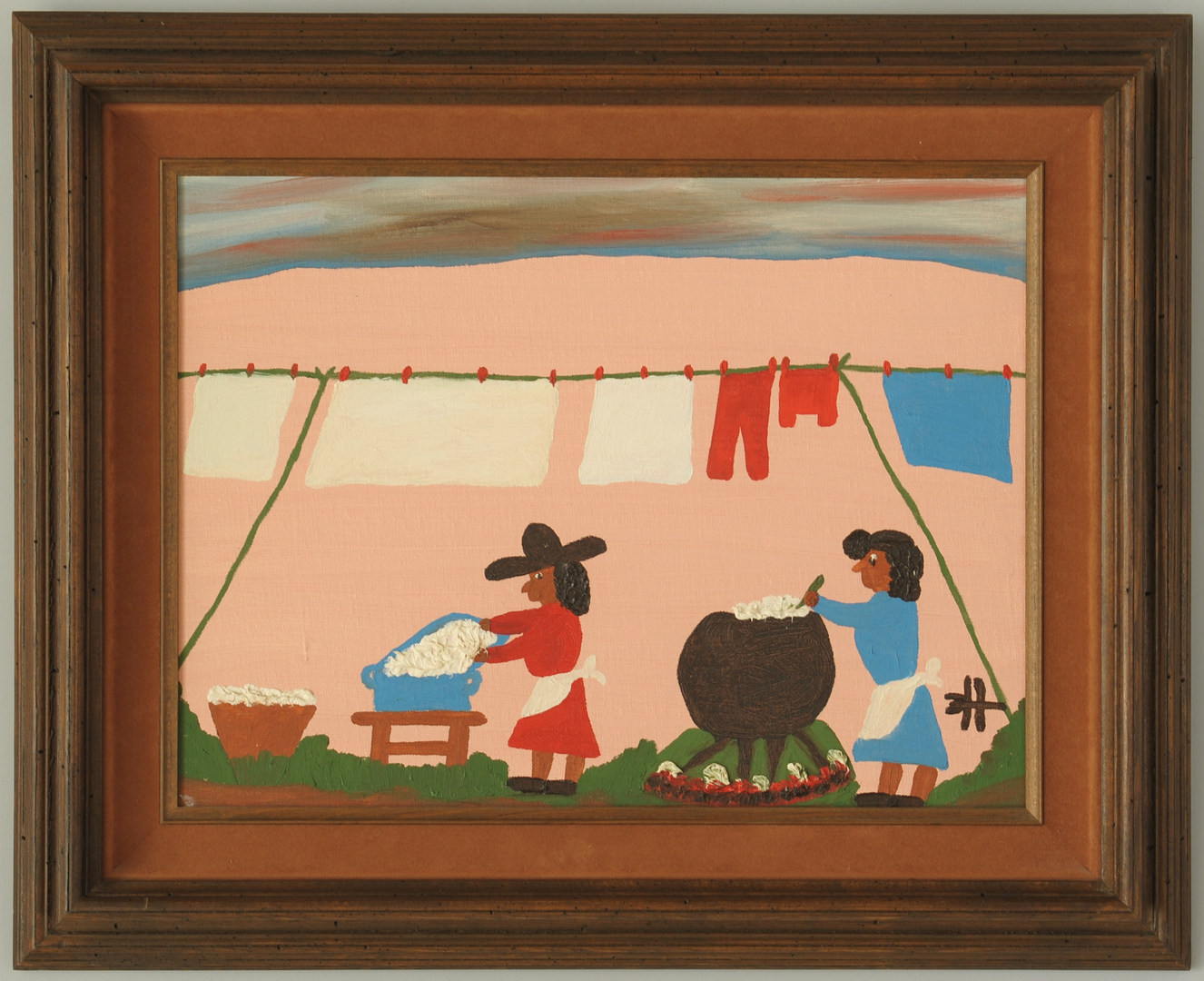 """Lot 170: Clementine Hunter Oil on Board, """"Washday"""" & Photo"""
