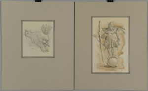 Lot 171: Two Werner Wildner Works: Watercolor and Drawing