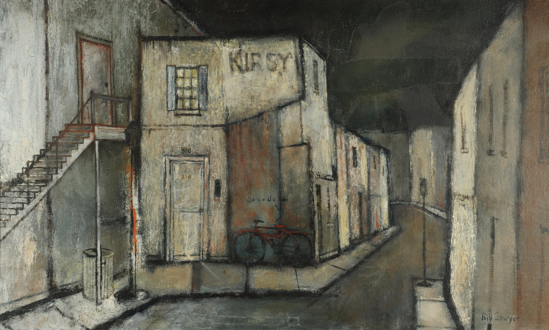 Lot 173: Bill Sawyer, oil on canvas streetscape