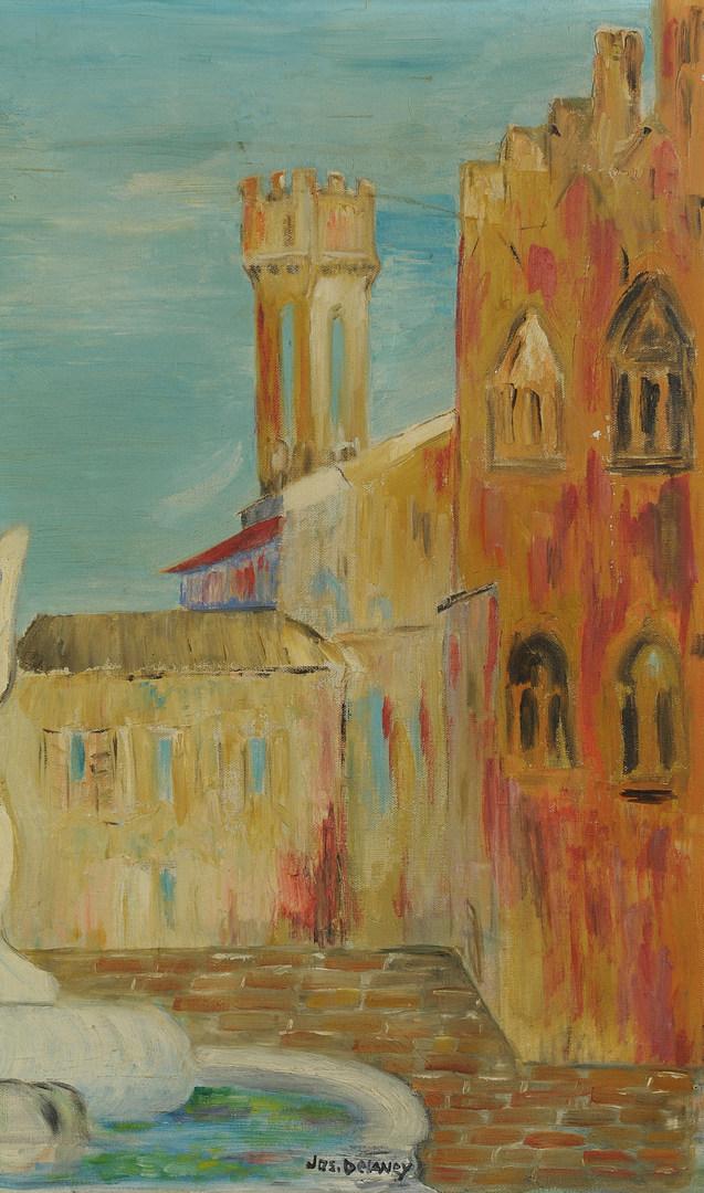 Lot 176: Joseph Delaney European Cityscape Oil on Canvas
