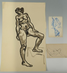Lot 177: 3 Joseph Delaney Nude drawings