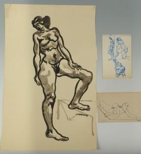 Lot 177: 3 Joseph Delaney Nude drawings