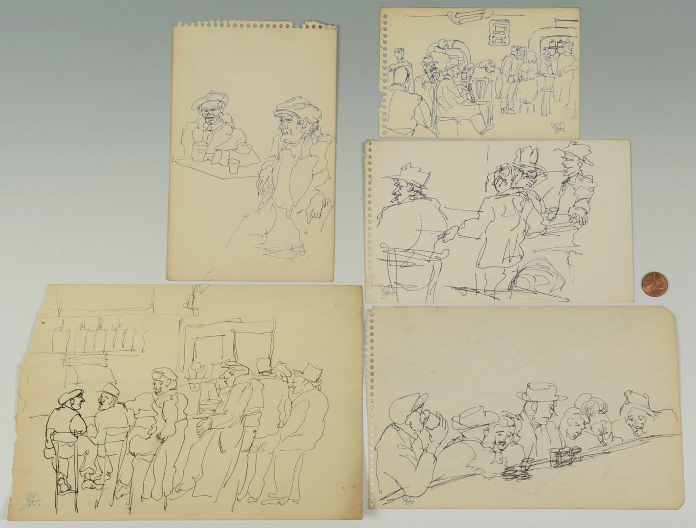 Lot 179: 6 Joseph Delaney Ink Drawings