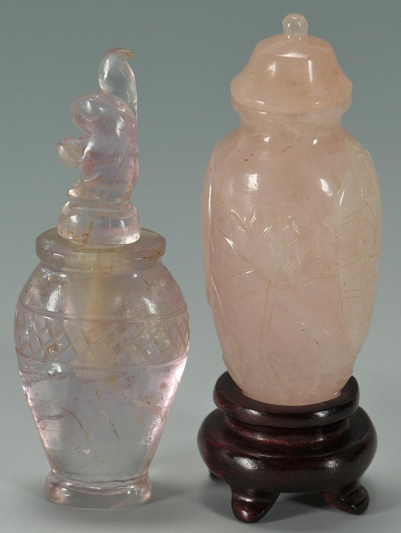 Lot 186: Two Chinese Rose Quartz Snuff Bottles