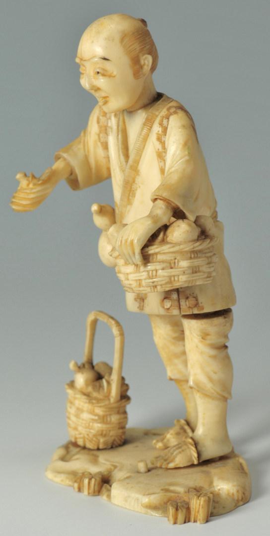 Lot 188: Japanese Ivory Okimono Vegetable Peddler
