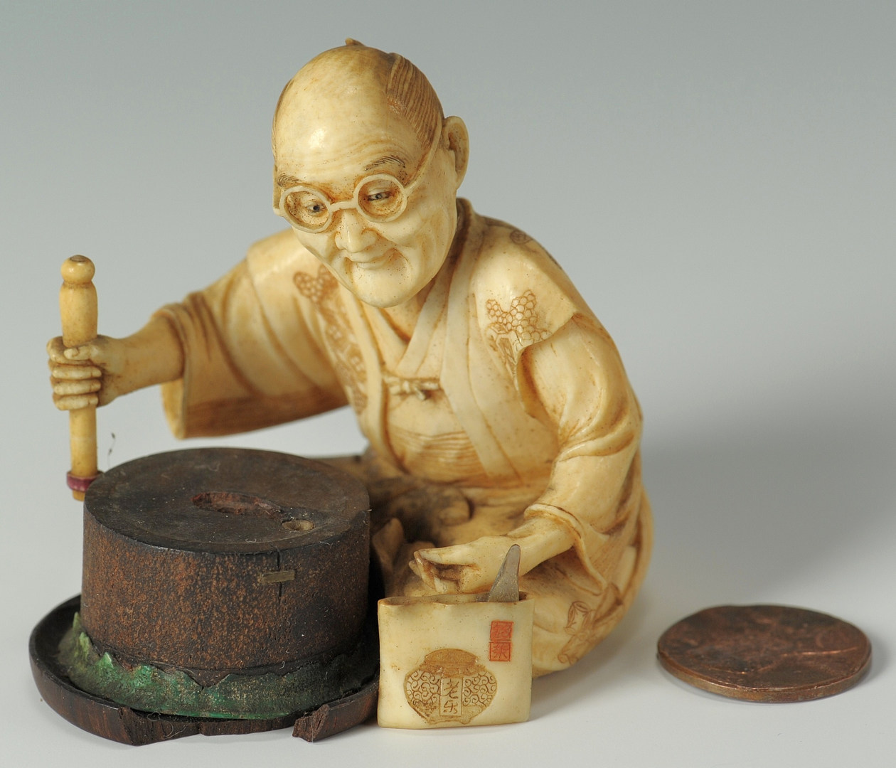 Lot 189: Japanese Ivory Figure, Male w/ glasses