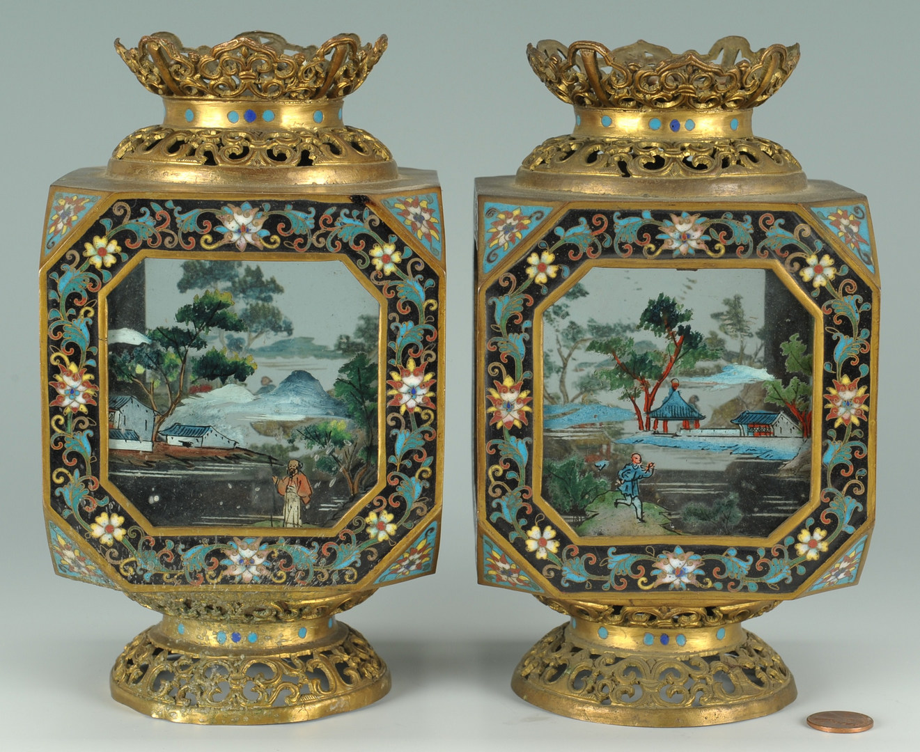 Lot 18: Pair Chinese Cloisonne Painted Table Lanterns