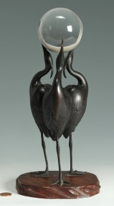 Lot 1: Signed Japanese Art Deco Bronze Okimono of 3 Crane