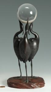 Lot 1: Signed Japanese Art Deco Bronze Okimono of 3 Crane
