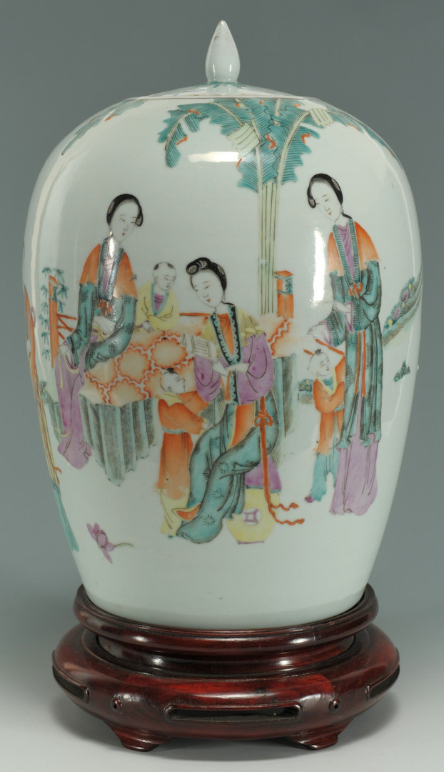 Lot 204: Chinese Famille Rose covered urn with figures