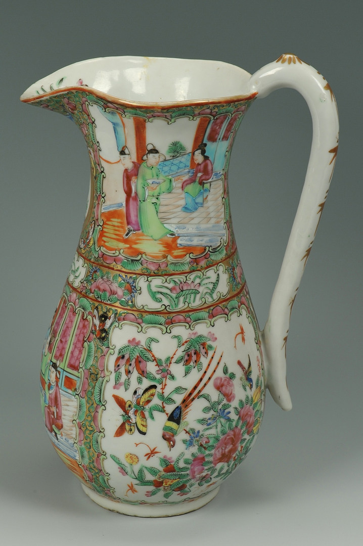 Lot 210: Chinese Porcelain Rose Medallion Water Pitcher & B