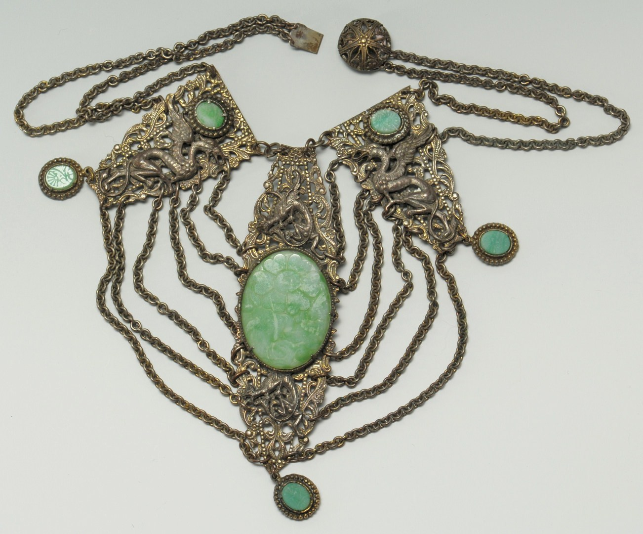 Lot 214: Chinese Jade Dragon Necklace and Cloisonne Brooch
