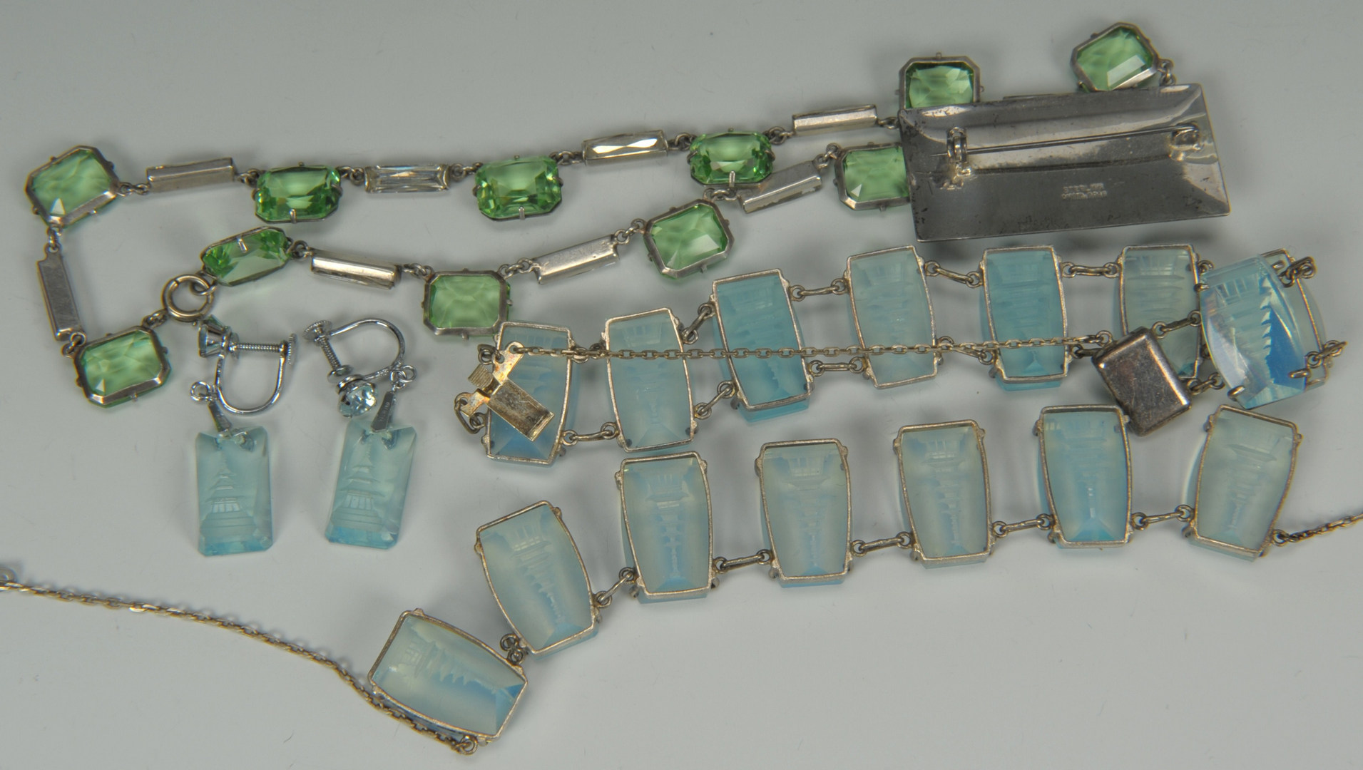 Lot 216: Collection of Sterling and Crystal jewelry, 6 pcs