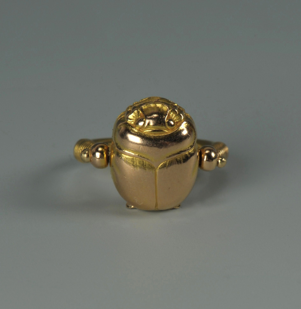 Lot 217: Arts and Crafts 14K Scarab Ring