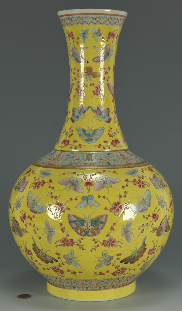 Lot 21: Chinese Yellow-Ground Porcelain Bottle Vase